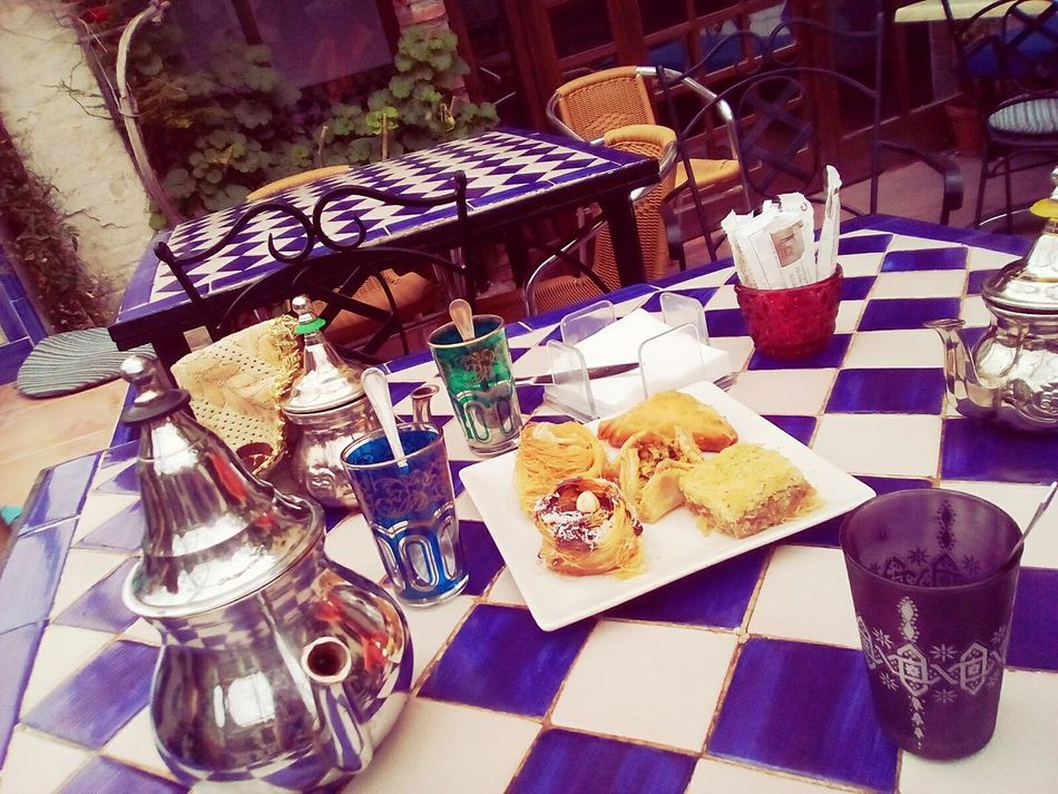 Table Plate High Angle View Food And Drink Chair No People Tablecloth Food Place Setting Indoors  Day Napkin Ready-to-eat Chess Board Freshness Chess Piece Tee Moroccan Style Spain♥ Drink Freshness