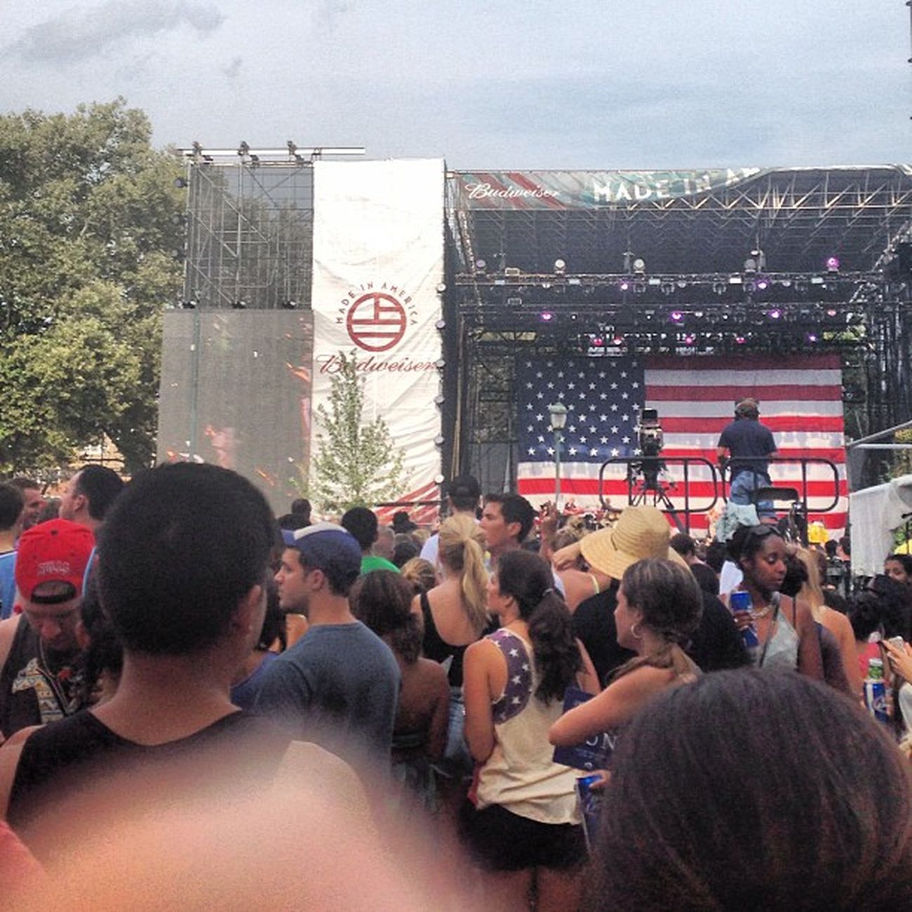Red white and blue everywhere. Madeinamerica Bigfestival America