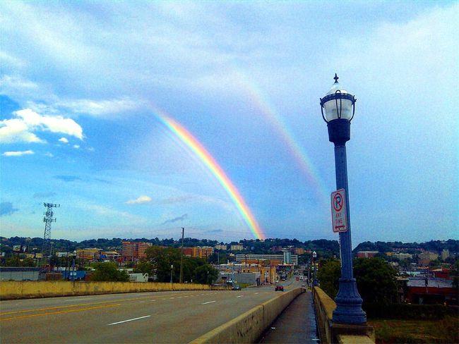 Double rainbow seen while walking home. Birmingham, AL Bridge City Life Cloud - Sky Cloudy Double Rainbows No People Outdoors Rainbow Road