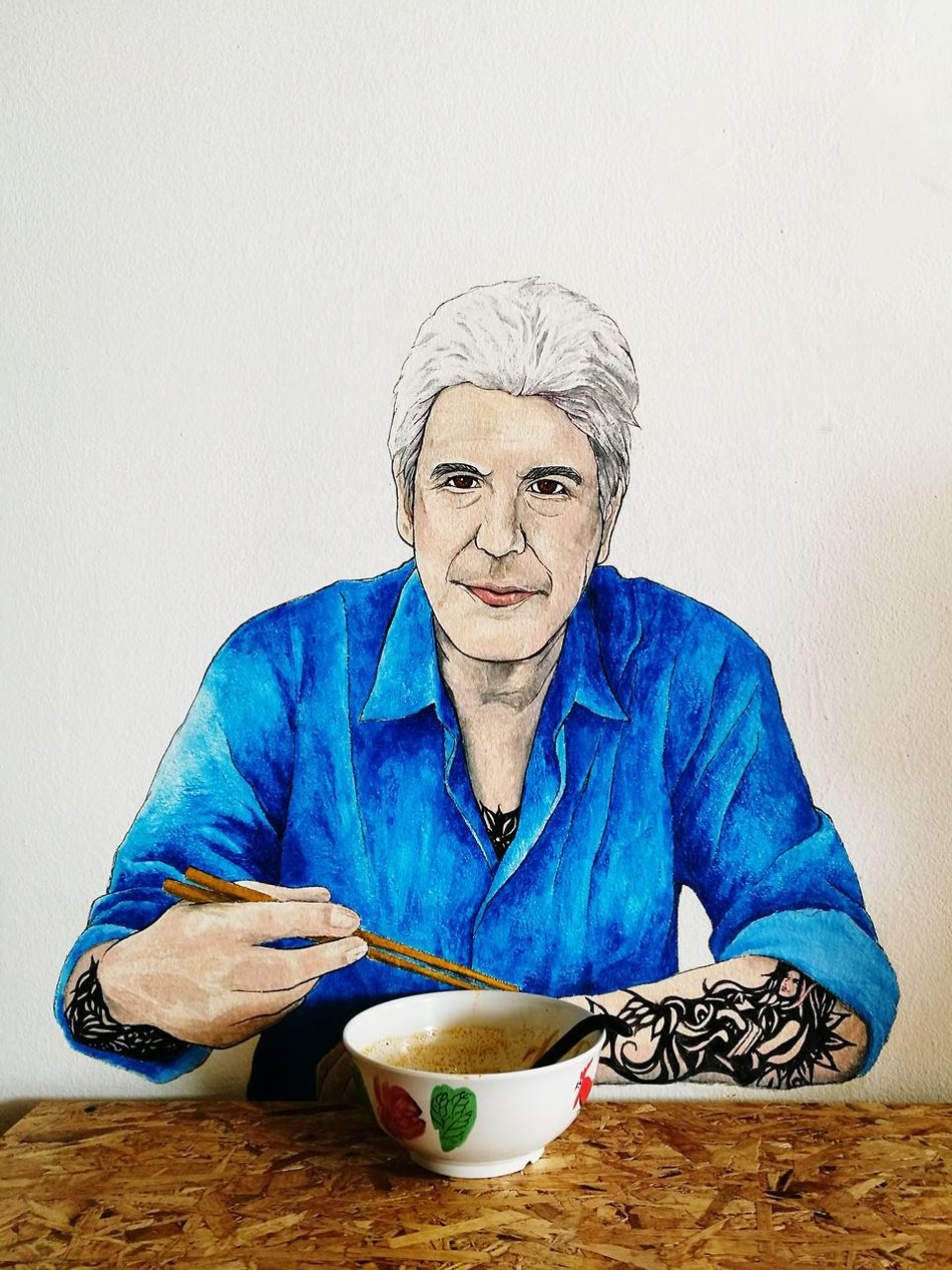 Senior Adult Blue Portrait Adults Only One Person Front View Adult Indoors  Restaurant Eating Bowl Chopsticks Wall Art Wallart Wall Painting Wallpainting Painting 3D Dining Anthony Bourdain Was Here Frontal Shot Frontal No Filter, No Edit, Just Photography No Filter No Edit The Purist