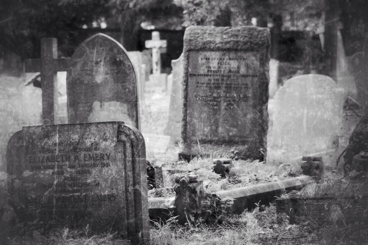 Tombstone Cemetery Memorial Gravestone The Past Graveyard Cross Grave History No People Spirituality Religion Outdoors Day Grief Close-up Canon Black & White Creative Photography Graveyard Beauty Canonphotography Churchyard Burial Ground South West London