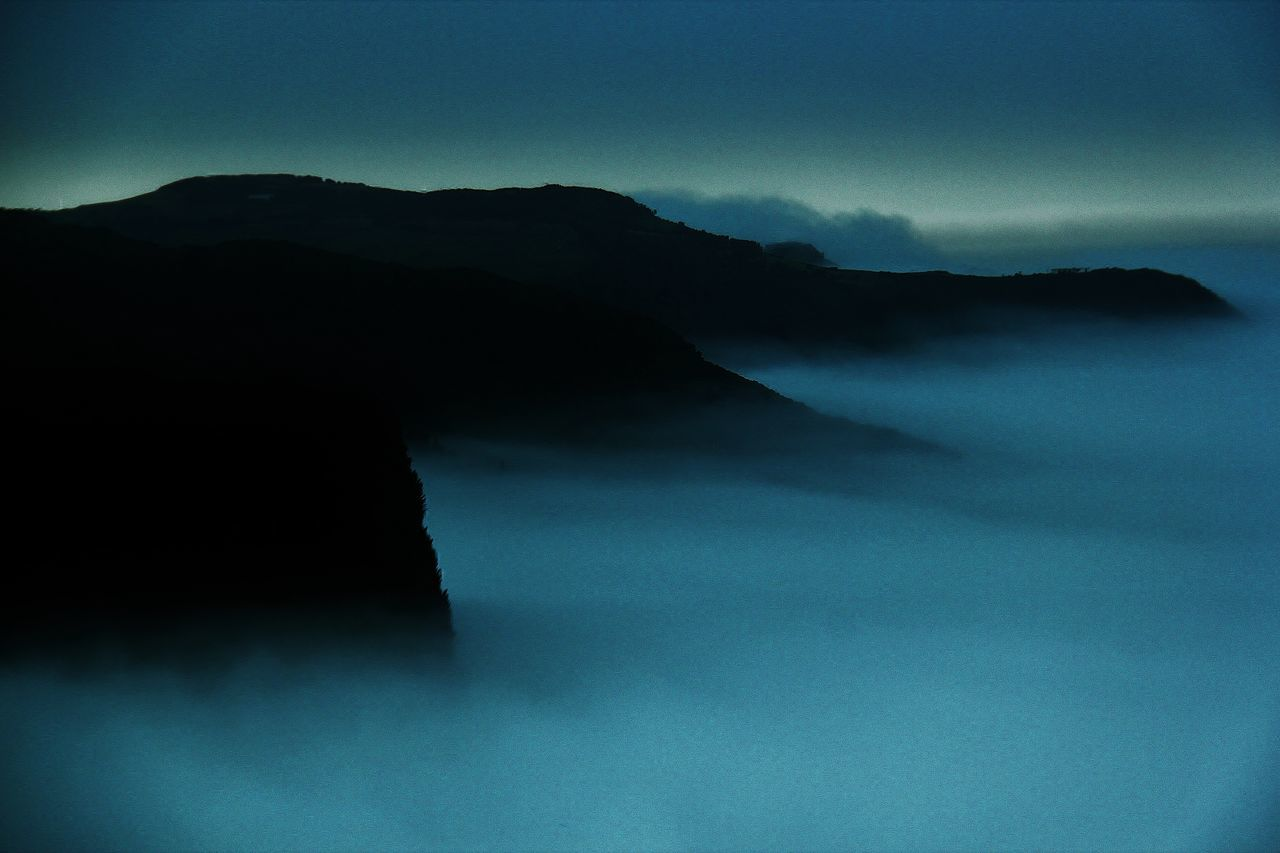 Tranquil Scene Remote Cloudscape Majestic Fluffy Ethereal Seascape Mountain Misty Evening Monochrome Photography Flores Island Azores Cliff Edge Cliffside