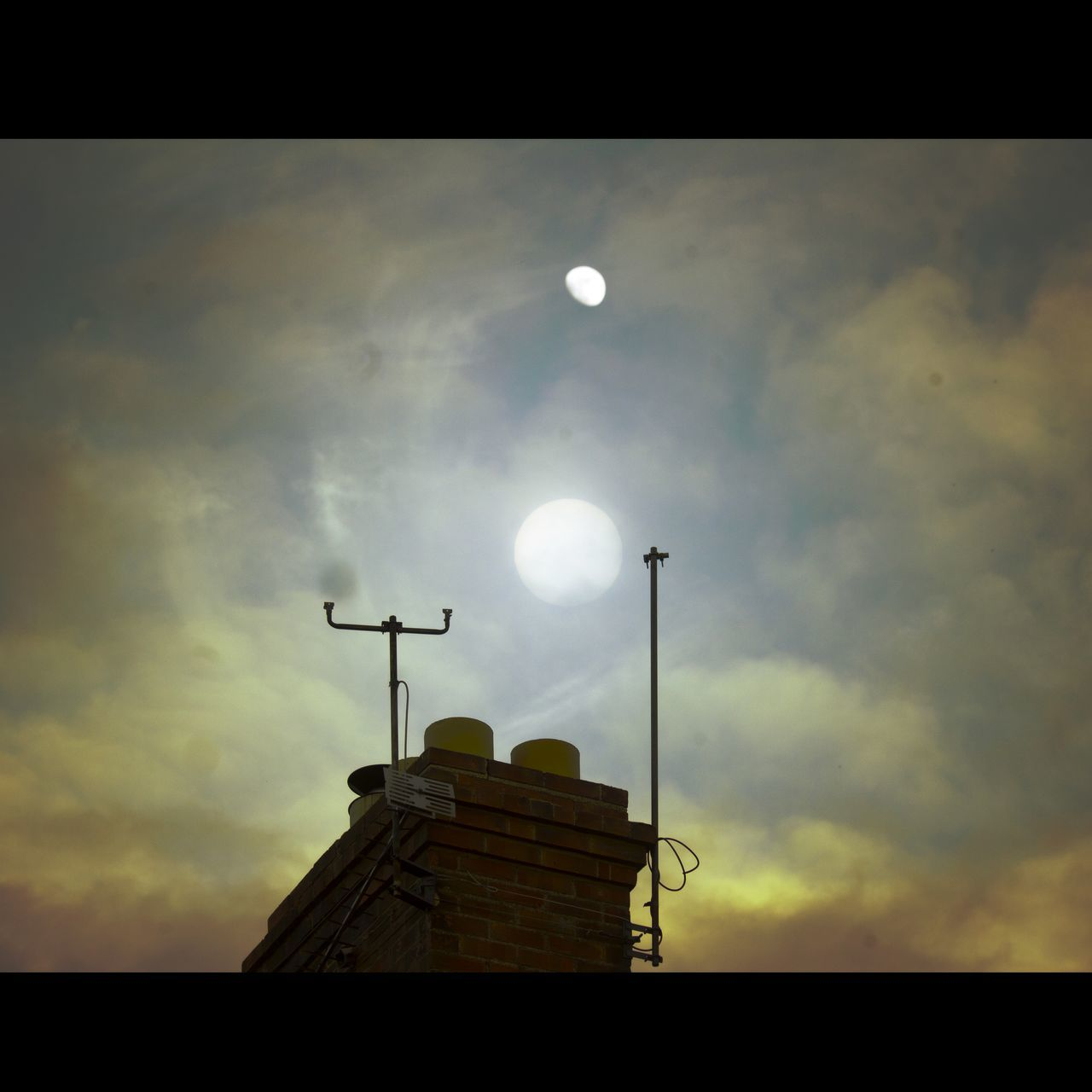 Sky No People Moon Nature Built Structure Antenna - Aerial Cloud - Sky Outdoors Sunset Television Aerial Nostalgia Dreamlike Edit Science Fiction Astronomy Composite Dream Tranquil Scene Landscape Art Occult Retouch Scifi Memory Nature