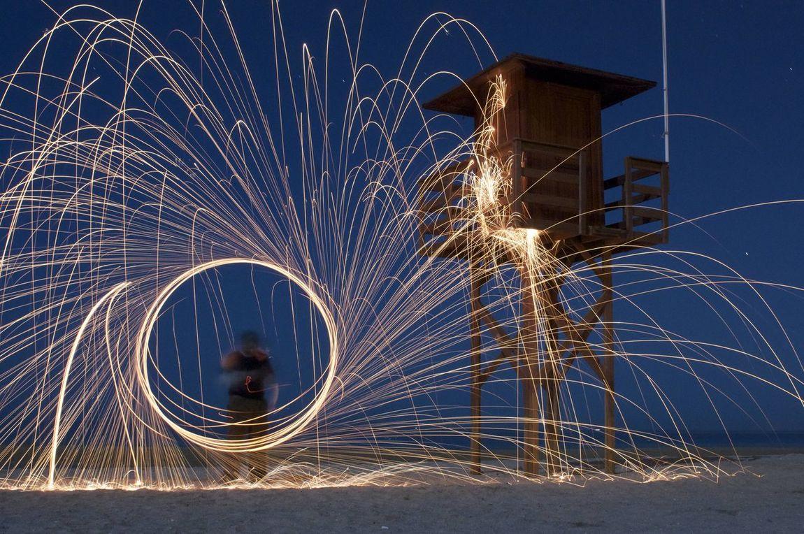Mi primera experiencia con la fotografia nocturna y con la lana de acero:-) Fotografía Nocturna Night Ligths Lana De Acero