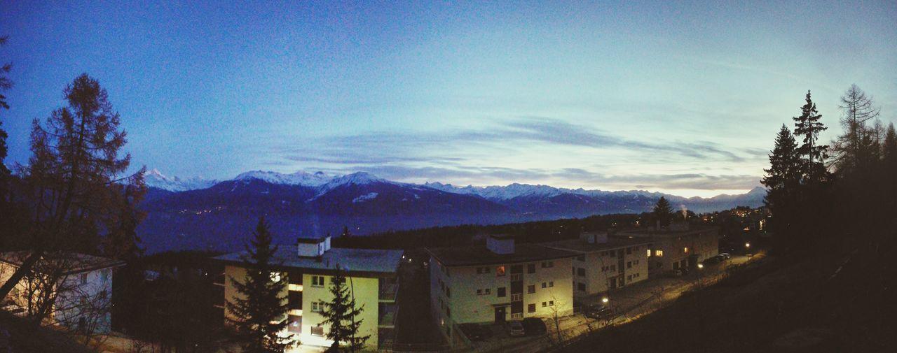 Evening window view