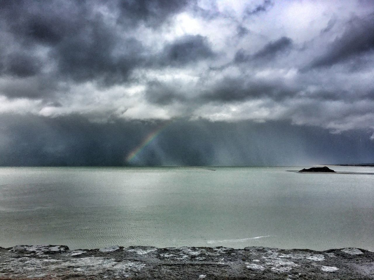 Weather Sea Nature Sky Cloud - Sky Beauty In Nature Overcast Scenics Water Tranquil Scene No People Storm Cloud Tranquility Outdoors Horizon Over Water Day Beach Rainbow Rainy Days Beauty In Nature Mont Saint-Michel Bay Bretagne Bretagnetourisme