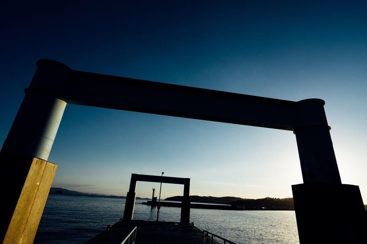 Marine Gate Gate Sunset Evening Sky Pier Seaside Sea Clouds And Sky Waterfront Blue Outdoors Travel Sky EyeEm Best Shots - Landscape Okayama Okayama,Japan Atomosphere Capture The Moment Silhouette Silhouettes Lighthouse Hello World August 2016