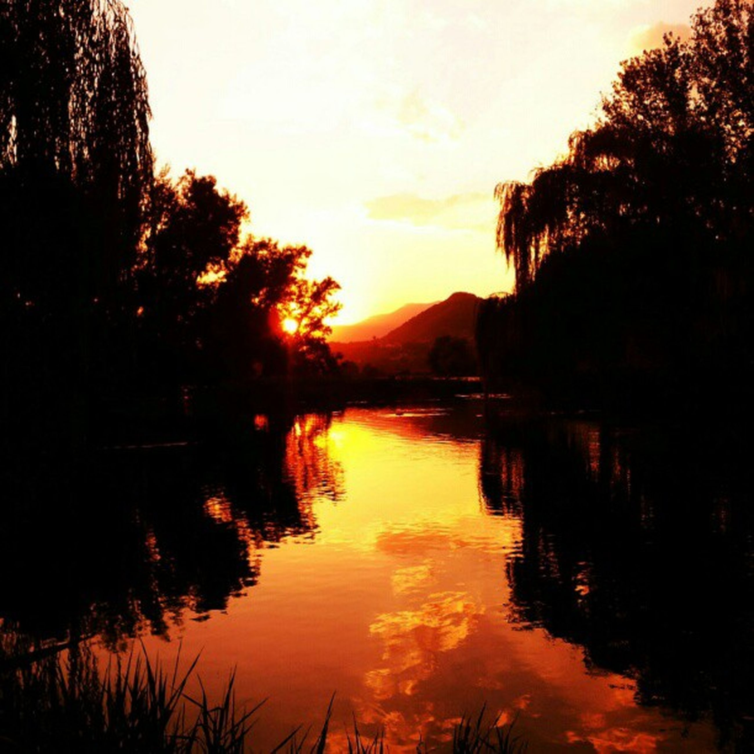water, sunset, reflection, tranquil scene, tranquility, scenics, lake, beauty in nature, tree, silhouette, sky, nature, idyllic, mountain, river, waterfront, calm, orange color, non-urban scene, outdoors