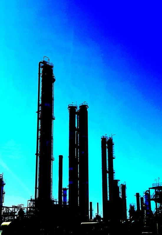 Architecture Beautiful Polution Blue Blue Ski Black Industry Building Exterior Built Structure Day Drilling Rig Factory Industry Indutry Natur And Machine No People Oil Industry Oil Pump Outdoors Petrochemical Plant Refinery Sky Smoke Stack