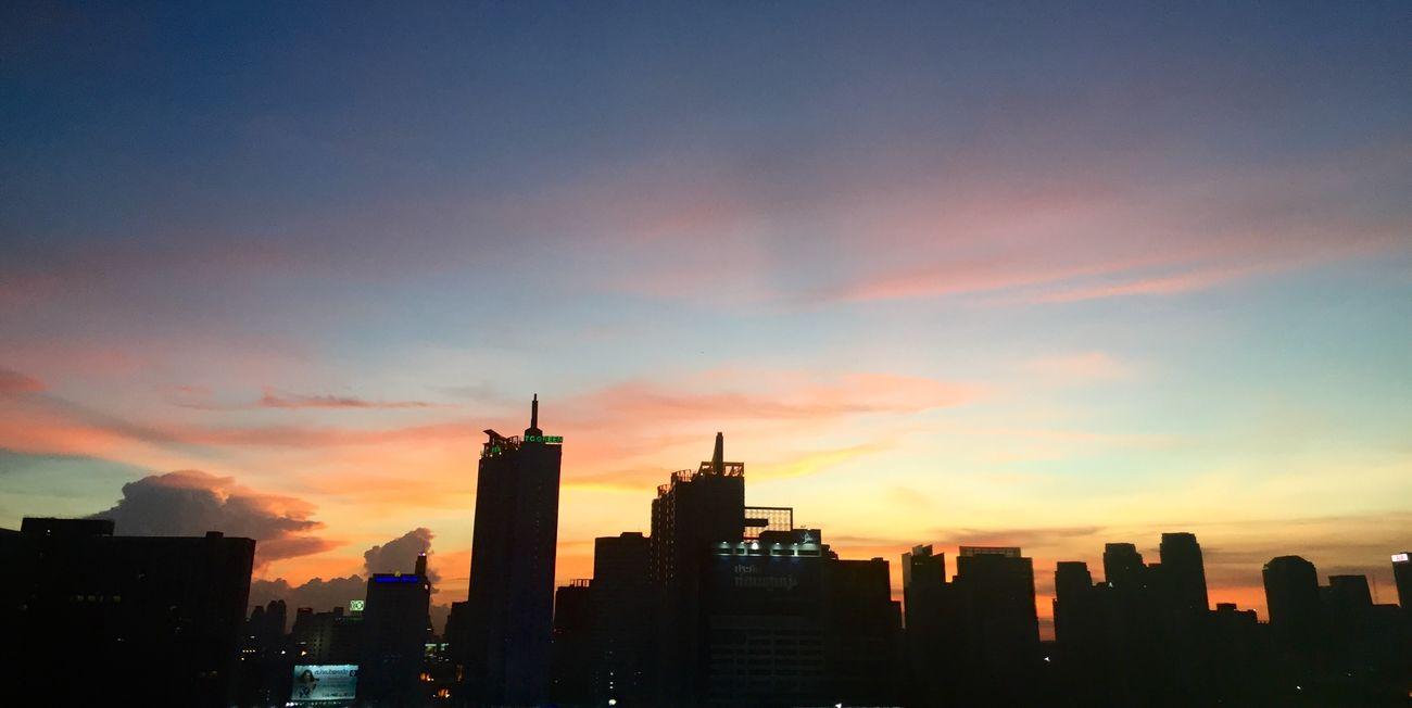 Sun Set Building Sky Light Black Town Colourfulsky
