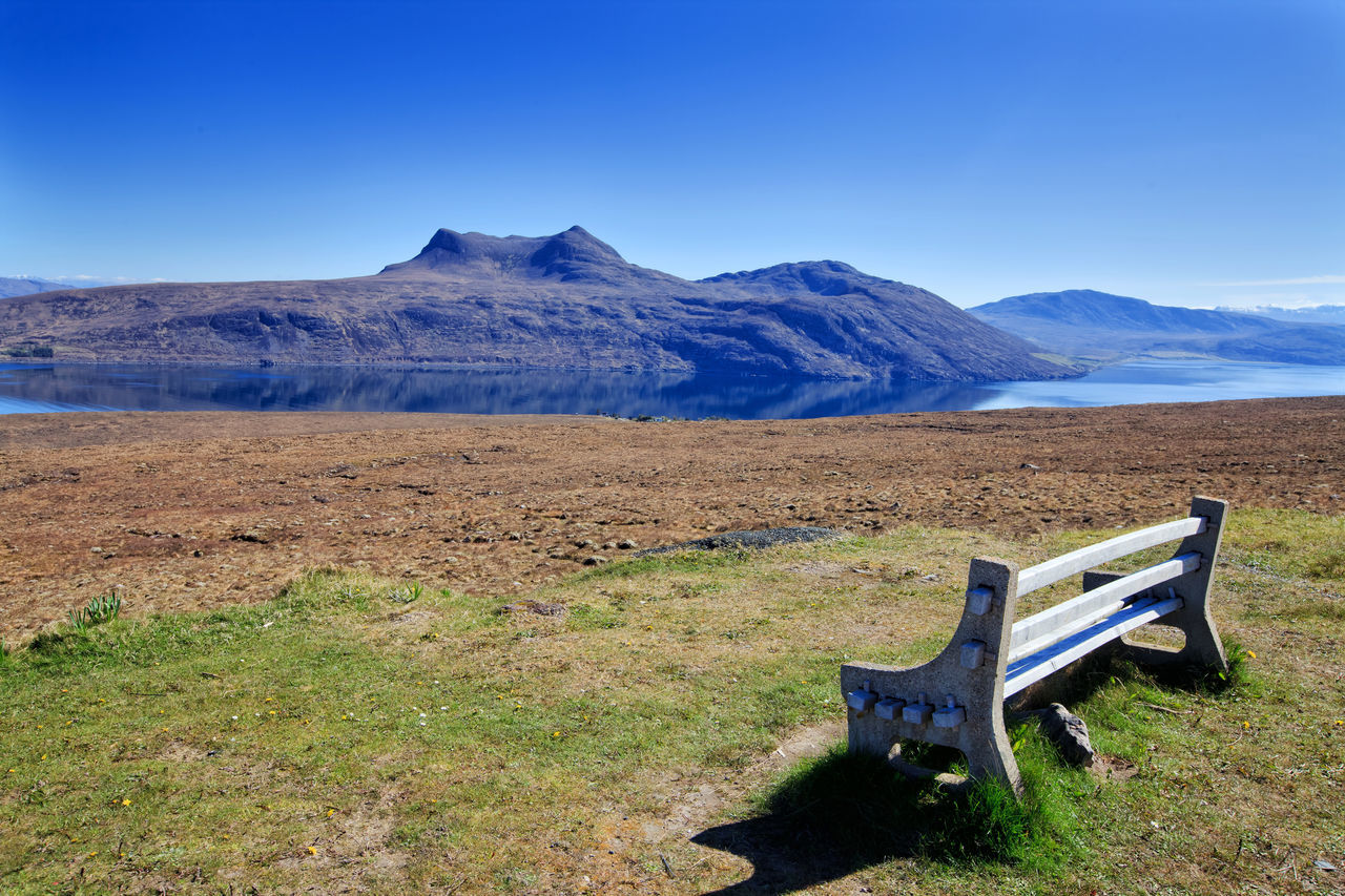 Place for relax, view to the Little Loch Broom, Scotland, UK Beauty In Nature Bench Blue Day Dream Lake View Landscape Landscape_Collection Little Loch Broom Loch Broom Mountain Mountain Range Nature No People Outdoors Panorama Relax Scenics Scotland Scottish Highlands Sky Tranquility