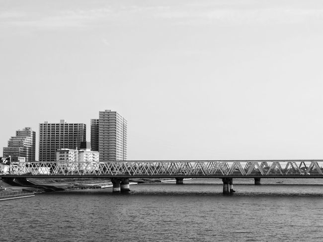 Blackandwhite Photography Black & White Black And White Blackandwhite Bridge Japan Photography Japan Tokyo, Japan Tokyo,Japan Tokyo Architecture Built Structure Building Exterior Connection Copy Space Bridge - Man Made Structure City Water Modern Clear Sky Day No People Cityscape