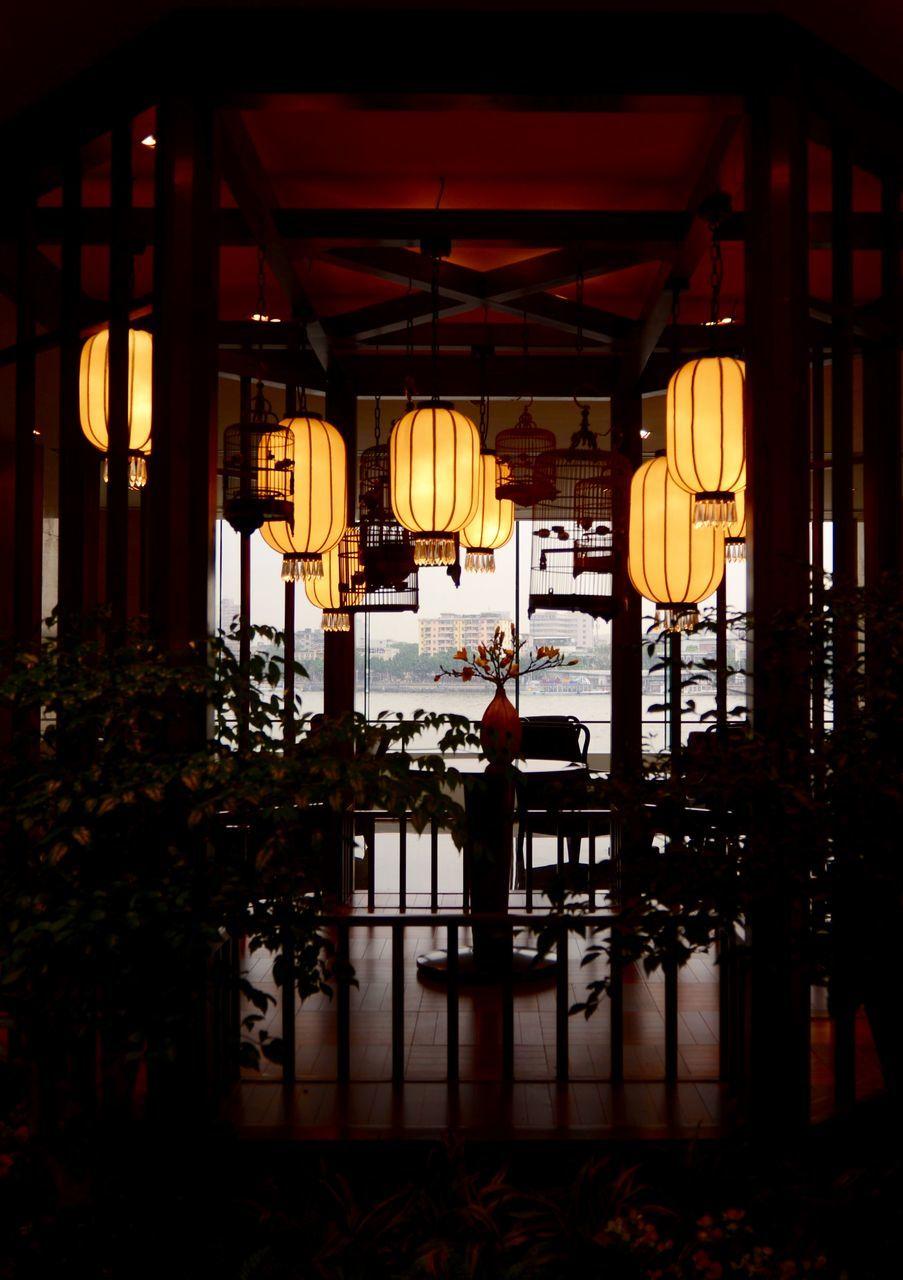 lantern, lighting equipment, illuminated, hanging, indoors, night, architecture, no people, built structure