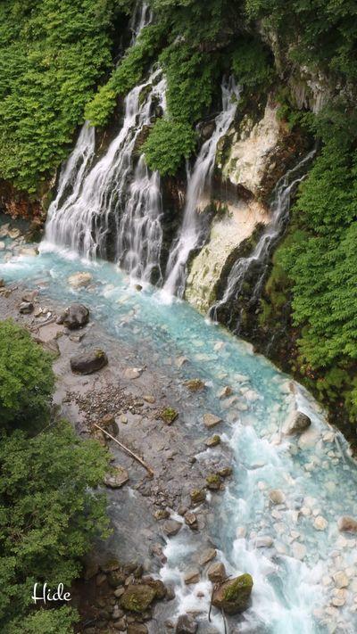 美瑛町 白金温泉 しらひげの滝 滝 Waterfall 青い川