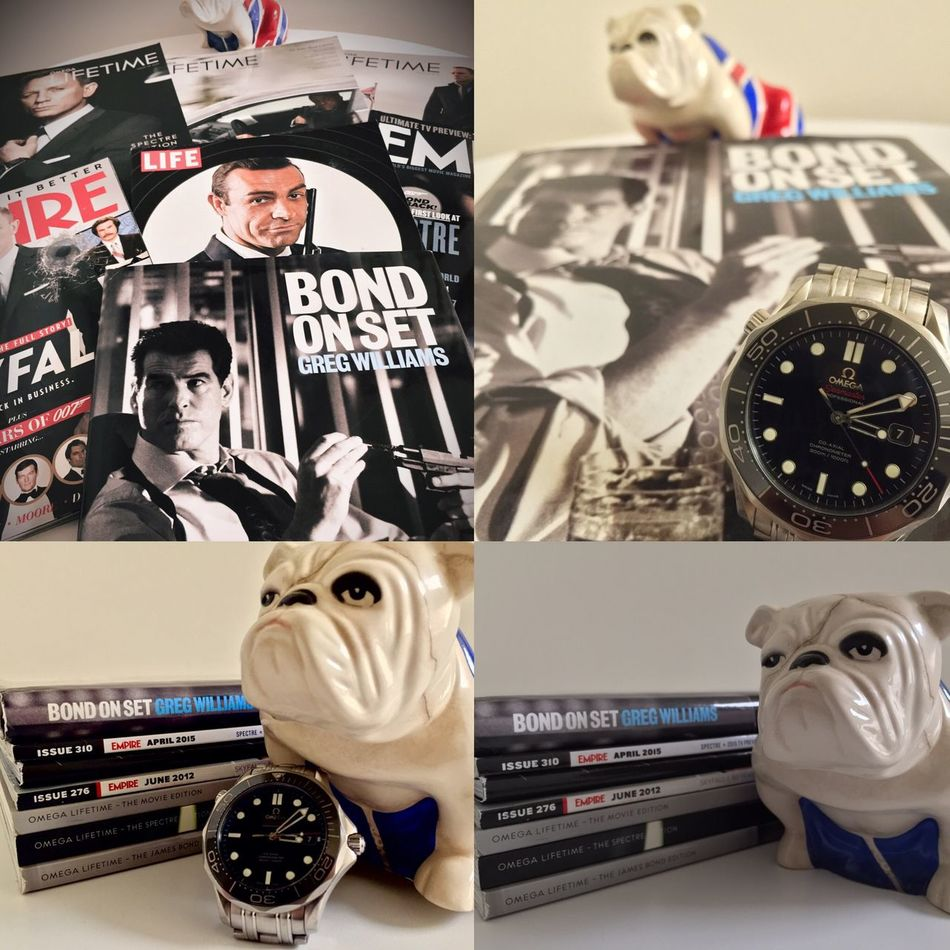 """My new book """"Bond on Set"""" to add to my love of all things James Bond. LGarciaPhotography Jame Bond Bond On Set Daniel Craig Pierce Brosnan Sean Connery 007 Bond Collection Magazine Books Omega Omega Seamaster Omega Watches Omega Seamaster 300m My Hero IPhoneography Iphone 6 Plus Light And Shadow Jack The Bulldog Bulldog Watches Greg Williams Photography I Need A Hero Man Crush"""