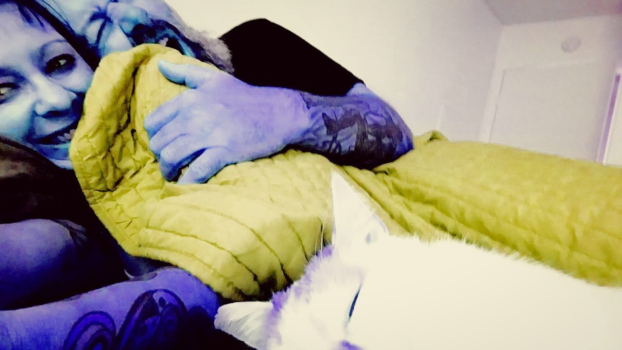 Indoors  Bedroom Home Interior Bed People Adult Human Body Part Adults Only Close-up Human Hand Pillow Girlfriend Kittycat Sleeping Cat Saturday Love Color Photography Sharp Focus Vinete Yellow Color Sleepy Awakening Disclosure Preparation  Godrules