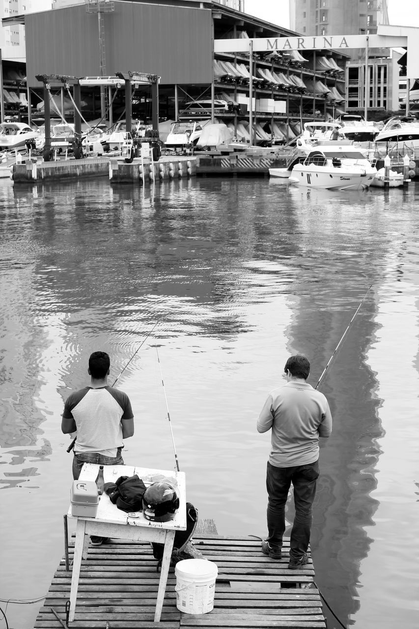 water, rear view, real people, nautical vessel, men, day, fishing, outdoors, transportation, mode of transport, lake, full length, standing, nature, jetty, moored, togetherness, fishing pole, people