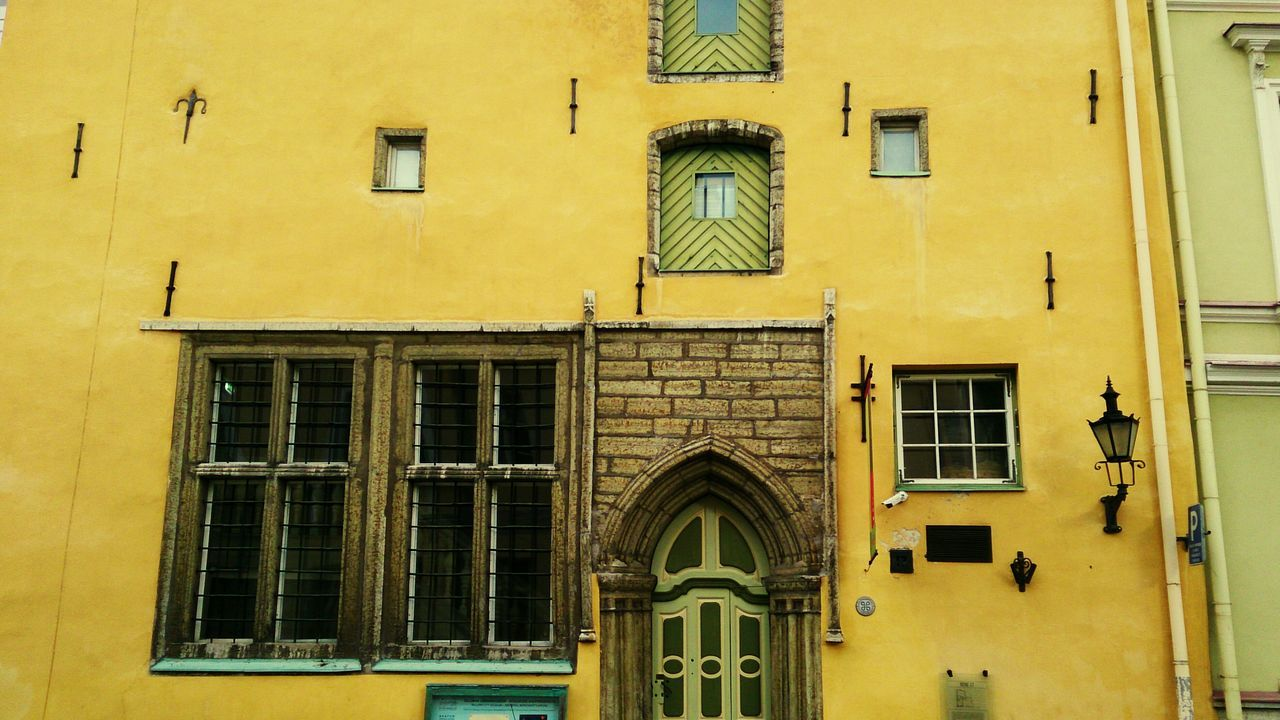 Typical Medieval Façade at Tallinn . Mobile Photography Mobilephotography Sony Xperia Zr Architecture Photography Historical Monuments Old City Tourist Attraction  Architectural Detail Geometric Shapes Yellow Wall The Architect - 2017 EyeEm Awards