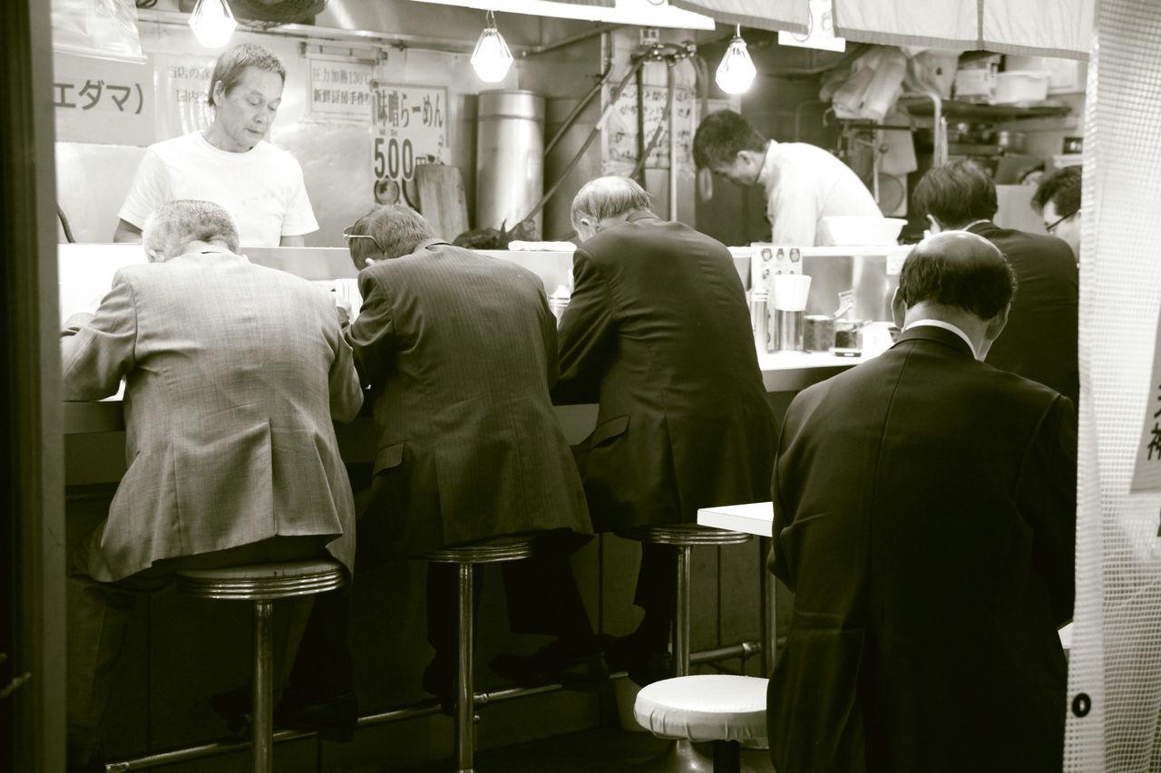 City City Life Dinner Time Eating Habit Lifestyle Men Mensfashion Monochrome Photography Ramen Rear View Salary Man Shimbashi Tokyo Uniformity Urban Lifestyle