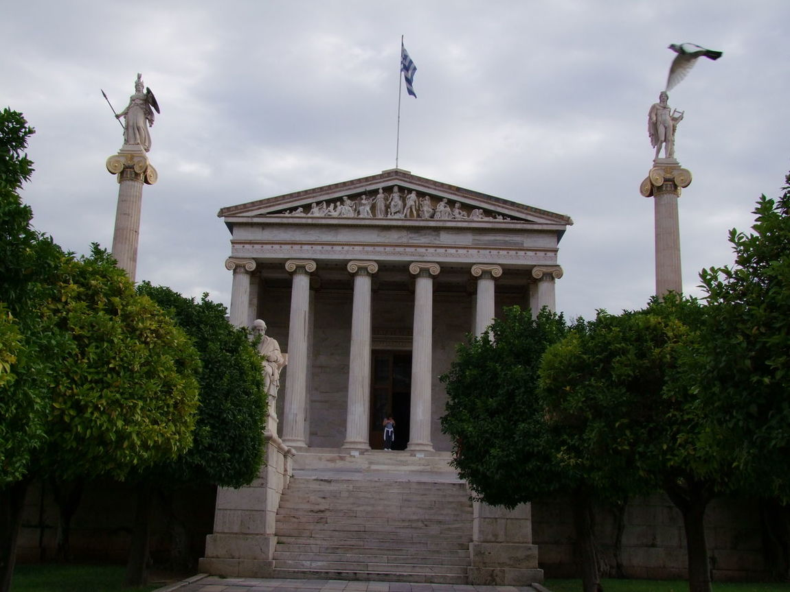 Academy of Athens (founded 367 BC) Academy Antiquity Architecture Art Art And Craft Athens Building Exterior Built Structure Column Columns Creativity Famous Place Flag Greece Green History Human Representation Museum Pidgeons Sculpture Spirituality Statue Vertical Symmetry