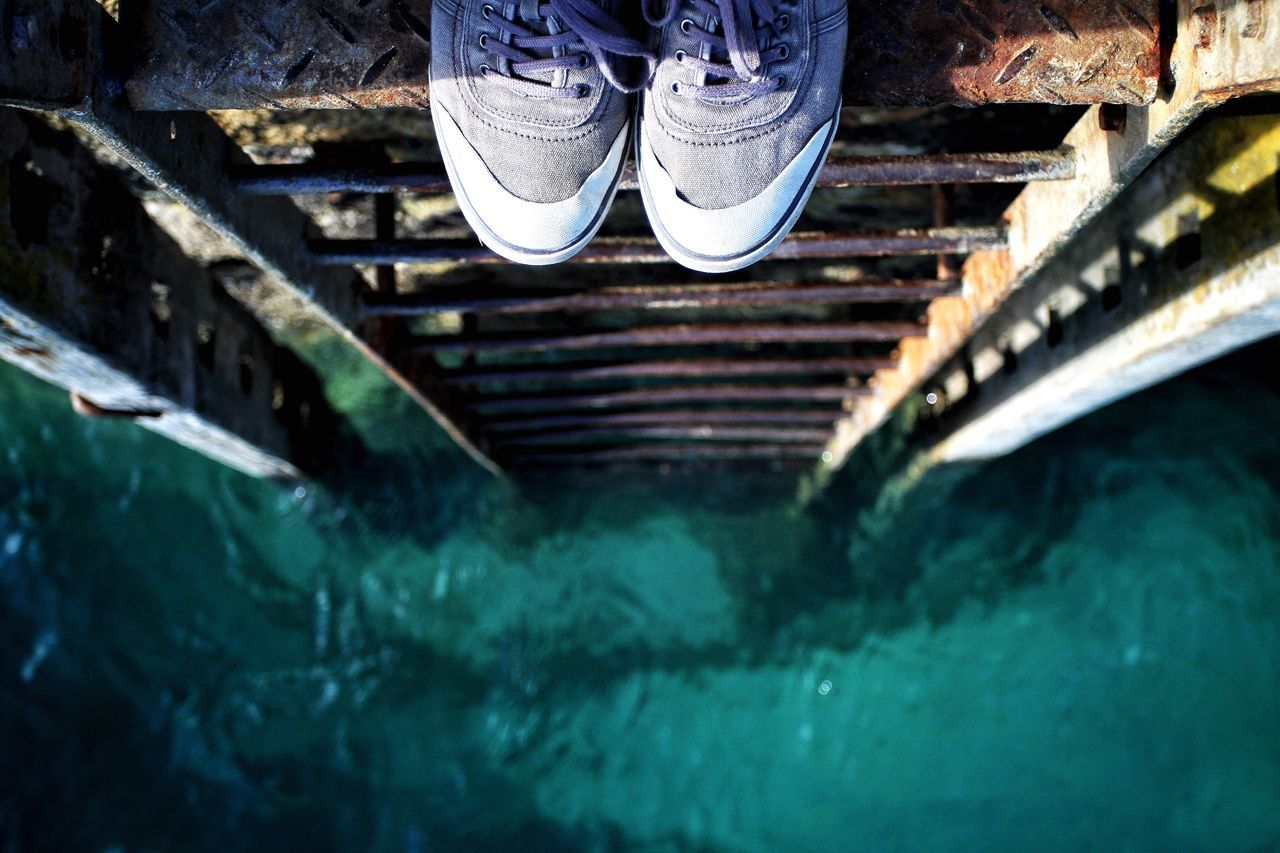 A pair of tatty shoes standing at the top of a rusty ladder that is leading straight down to a green, emerald ocean. Shoes Shoes ♥ Shoeselfie Ladder Ladders Hanging Out Sea Ocean Looking Down Rusty Old Sneakers Standing Standing Alone Top Thinking Thinking About Life Ready To Jump Jump Don't Jump Don't Do It Water Water_collection Water Surface Green Sea