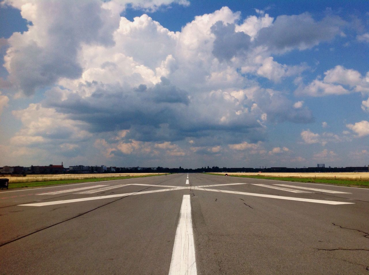 Sky Road Transportation Empty No People Cloud - Sky Airport Runway Outdoors Asphalt The Way Forward Airport Day Landscape Runway Nature Luftbrücke Tempelhof Travel Destinations Tempelhofer Feld