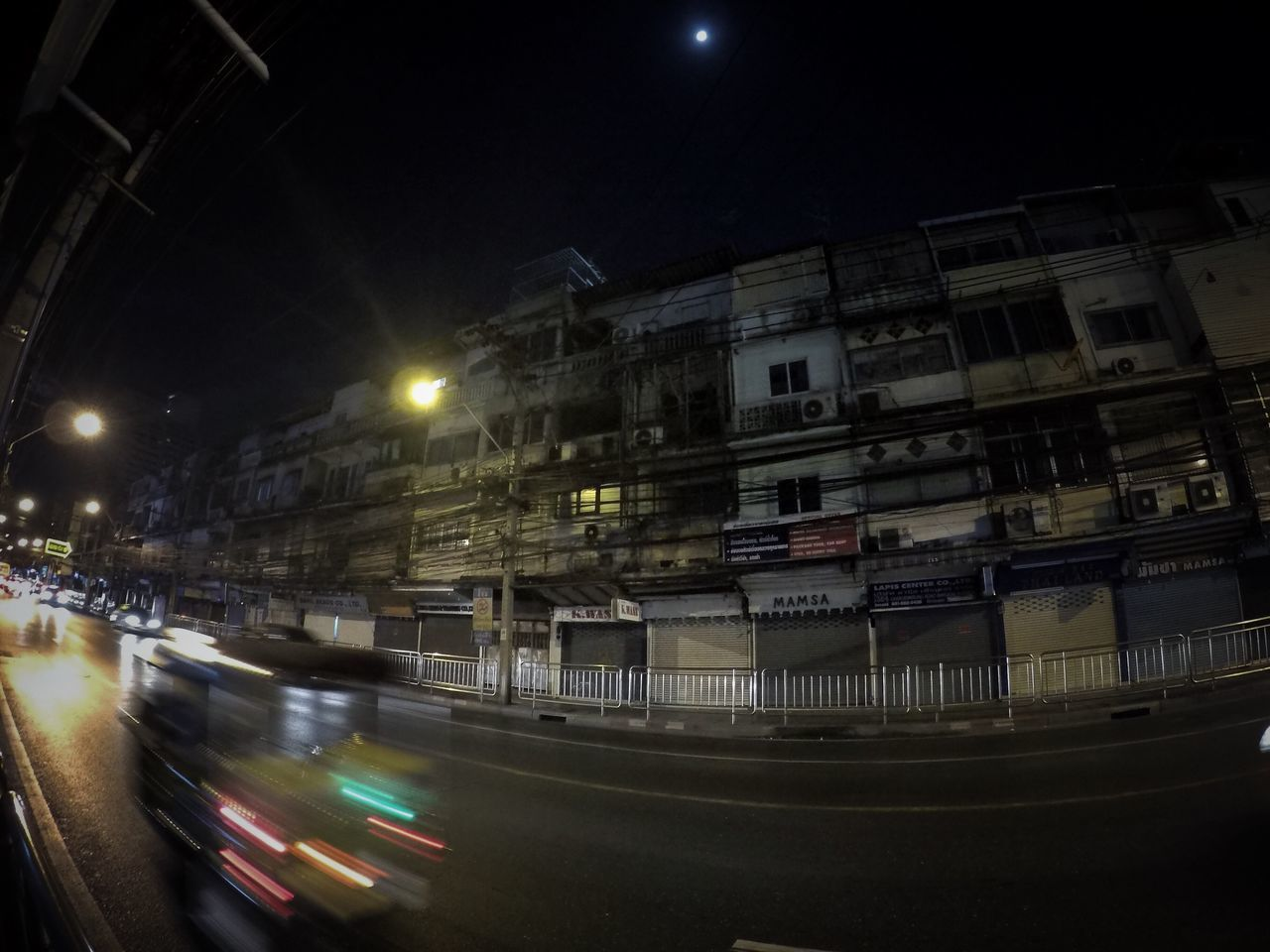 Night Illuminated Building Exterior Transportation City Built Structure Architecture Street Light Road Outdoors No People Moon Sky GoPrography Streetphotography Bangkok Thailand. Streetstyle Metal Industry Architecture Bangkok