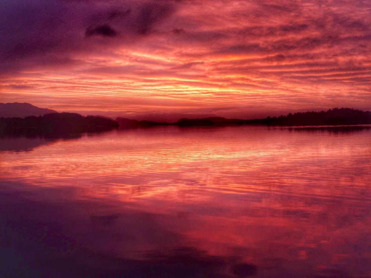 Sunset Beauty In Nature Nature Reflection Water Scenics Sky Tranquil Scene Cloud - Sky Orange Color Tranquility Dramatic Sky No People Idyllic Outdoors Scotland LochLomond Sunrise_sunsets_aroundworld Travel Travel Photography Travel Destinations Moments