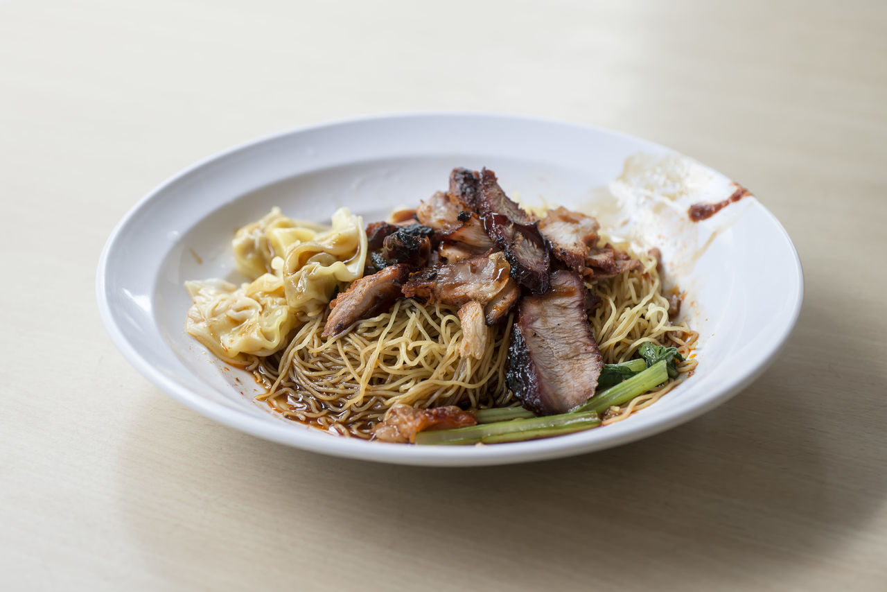 Char Siew Wanton Noodles Char Siew Close-up Food Food And Drink Freshness Garnish Gourmet Healthy Eating Indoors  Meal No People Noodles Plate Ready-to-eat Side Dish Table Wanton White Background