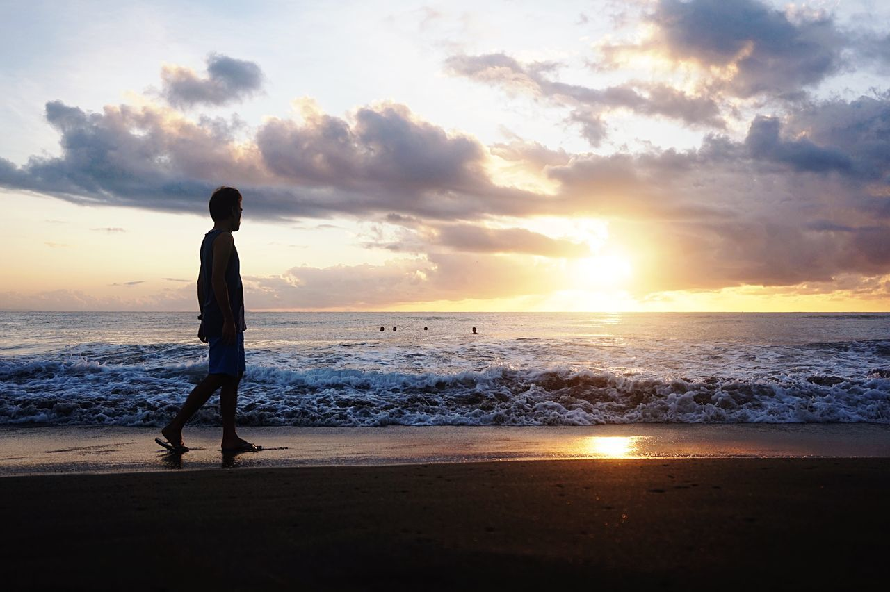 Sunrise Sea Beach Sky Full Length Beauty In Nature One Person Cloud - Sky Real People Nature Scenics Silhouette Horizon Over Water Lifestyles Leisure Activity Water Tranquil Scene Vacations Sun Standing Eyeem Philippines