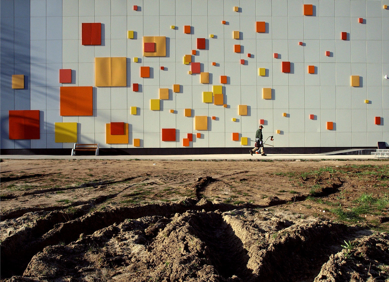Gold Digger Abstract Architecture Building Exterior Built Structure Minimalism One Person Orange Color Squares Squares And Lines Under Construction Urban Geometry Walking Work In Progress Worksite Yellow Squares First Eyeem Photo