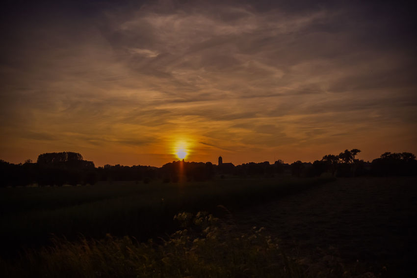 nature's painting Agriculture Beauty In Nature Day Field Grass Hay Bale Landscape Live For The Story Nature No People Outdoors Rural Scene Scenics Silhouette Sky Sun Sunset Sunset #sun #clouds #skylovers #sky #nature #beautifulinnature #naturalbeauty Photography Landscape [a:1286387] Tranquil Scene Tranquility Tree And Sky Cloud_collection  Low Angle View