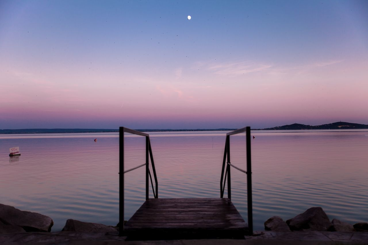 Beautiful stock photos of twilight, Beauty In Nature, Half Moon, Jetty, Lake