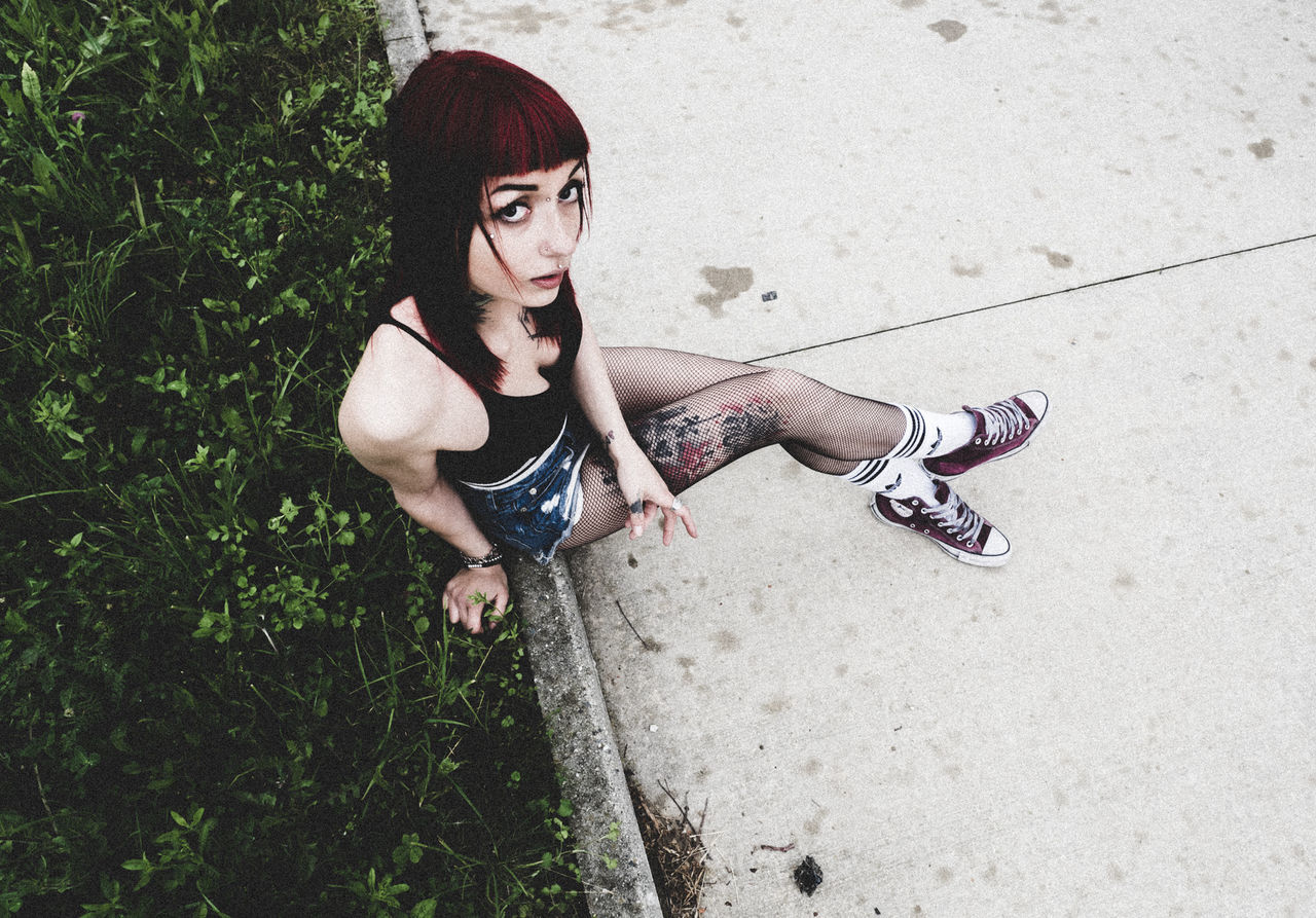 street style tattooeed redhead girl Adult Adults Only Childhood Day Full Length Grass High Angle View Hip Hop Looking At Camera One Person One Woman Only One Young Woman Only Only Women Outdoors People Portrait Redhead Sand Shirtless Skateboarding Standing Tattooed The Portraitist - 2017 EyeEm Awards Young Adult Young Women
