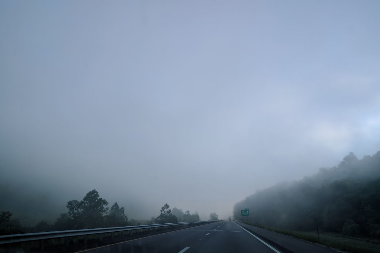 transportation, the way forward, road, copy space, nature, no people, car, sky, day, outdoors, fog, tree, scenics, beauty in nature
