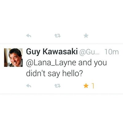 Um Geeking did this just happen? @guykawasaki ..out of the masses guy still finds away to connect directly. It's r real folks he practices what he preaches.