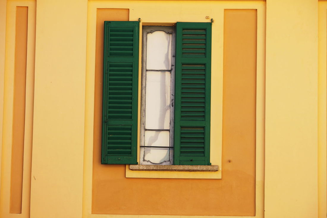 Ameno Town Building Exterior Close-up Day Italy No People Outdoors Piemonte Shutter Window Yellow Yellow And Green