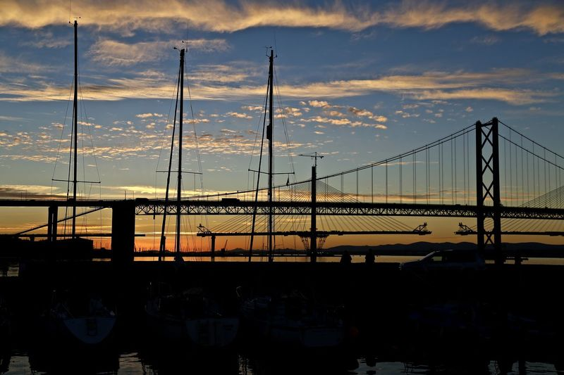 Queensferry Harbour on The Firth of Forth. Bridge - Man Made Structure Dusk Engineering Harbour Orange Color Sky Sunset Suspension Bridge Water
