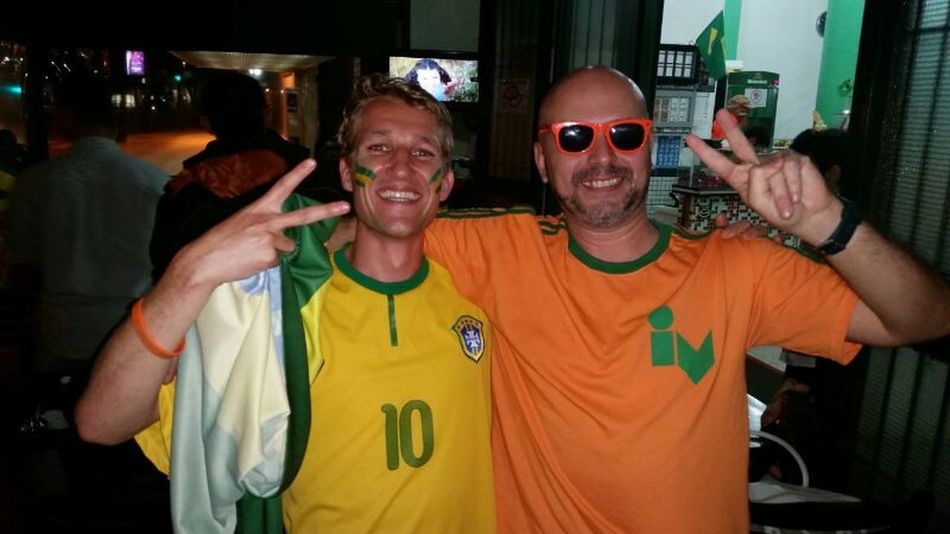 Bring peace to the world! Switching shirt with Brazil amigo!! Brazil 2014 World Cup Peace ✌ Good Times That's Me