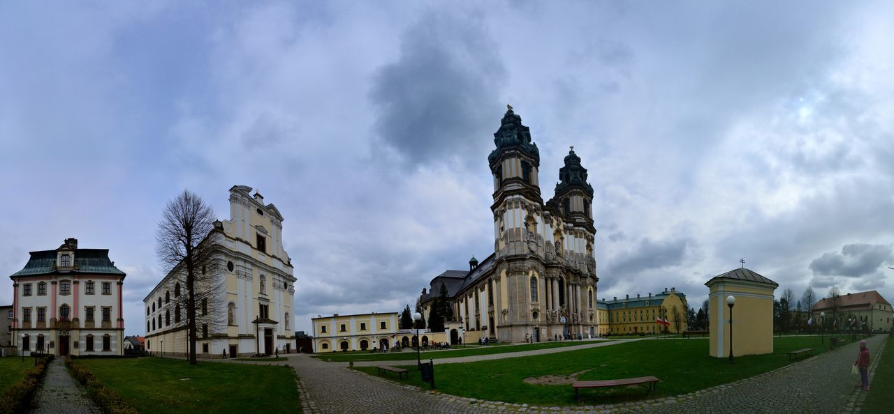 Architecture Building Exterior Built Structure City Cityscape Clock Clock Tower Cloud - Sky Cultures Day Grass Krzeszow Monastery No People Outdoors Religion Sky Statue Travel Travel Destinations Urban Skyline