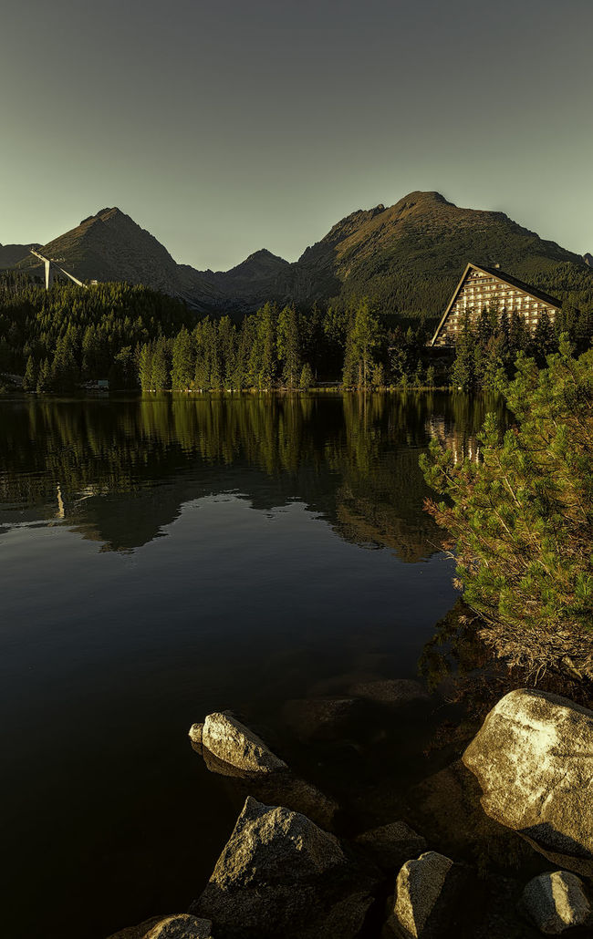 strbske pleso Architecture Beauty In Nature Day Hill Idyllic Lake Mountain Mountains Nature Outdoors Reflection Sky Strbske Pleso Travel Destinations Trees Water