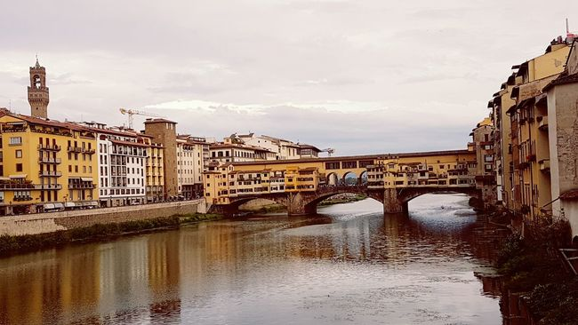 Florence Italy Bridge - Man Made Structure Water Connection Architecture Outdoors City Business Finance And Industry No People Cityscape Day Sky Tuscany Italy Ponte Vecchio Love Arno