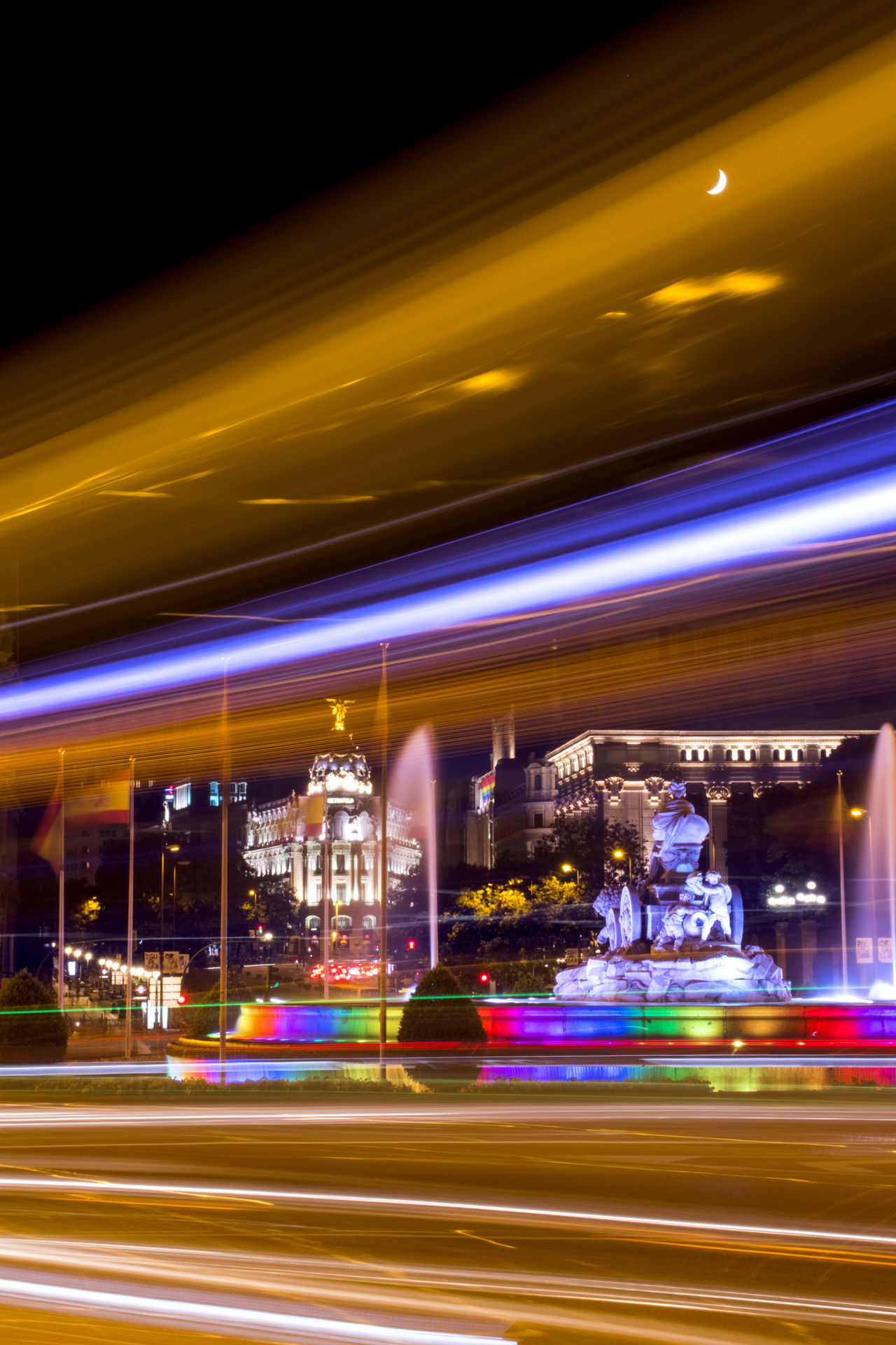 Architecture Blurred Motion Cibeles City Colorful Fountain High Street Illuminated Lgbt Lgbt Pride Light Trail Long Exposure Motion Neon Night Night Lights No People Outdoors Pride Road Speed Street Street Light