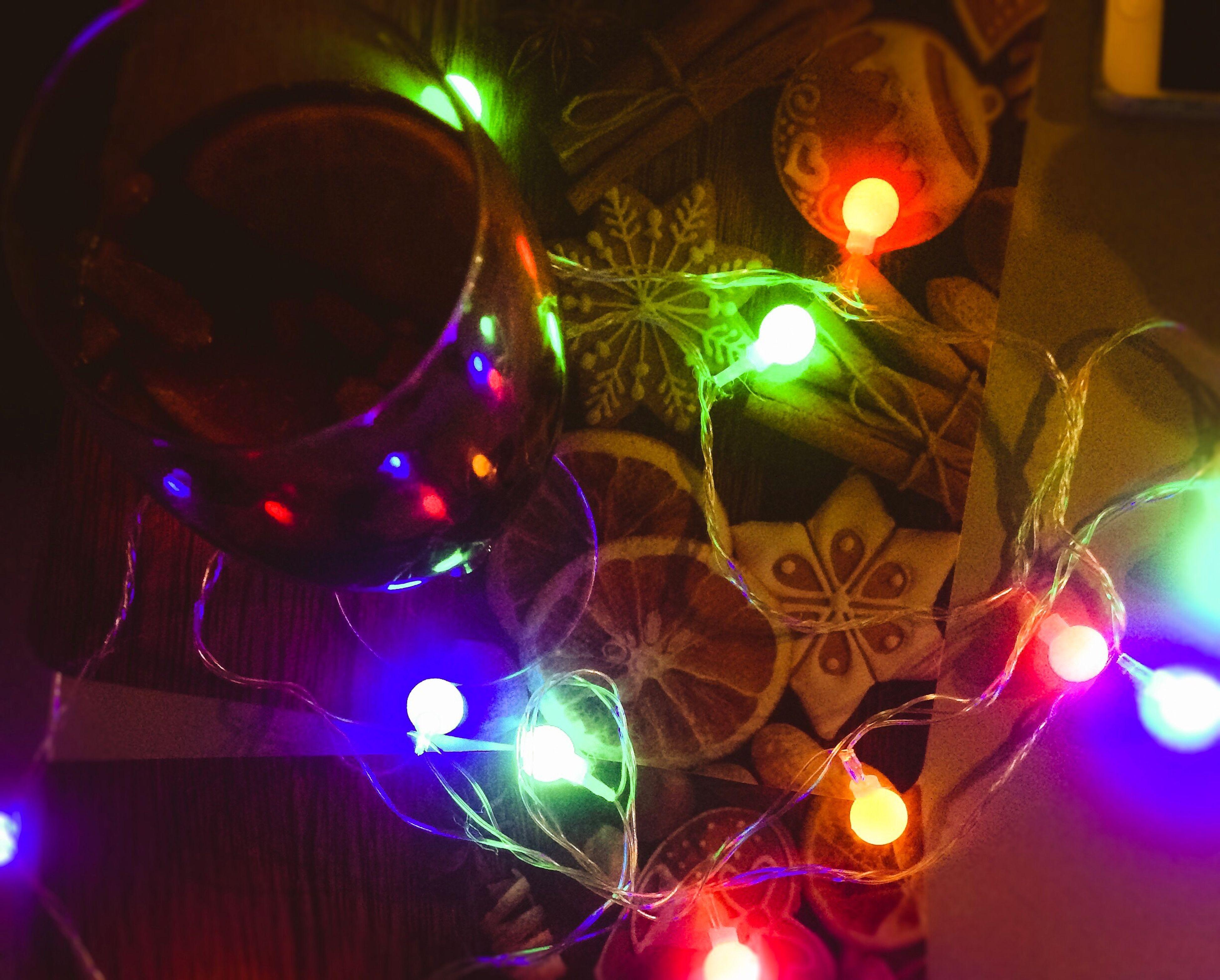 illuminated, night, christmas, multi colored, no people, close-up, lighting equipment, christmas decoration, celebration, christmas lights, indoors, tradition, christmas ornament, christmas tree, christmas bauble