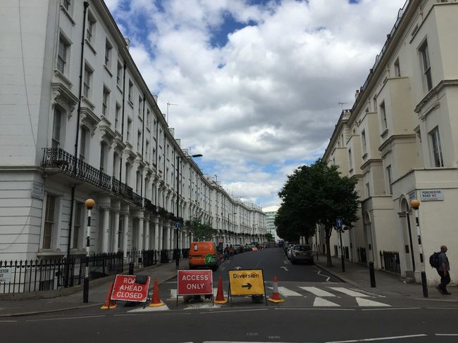 London - Road ahead closed Found On The Roll London Road Street Road Ahead Closed Outdoors Travel Empty Vanishing Point Sky Cloud Blue Building Architecture Diversion City Life Diminishing Perspective Residential Building Overcast Nofilter Noedit