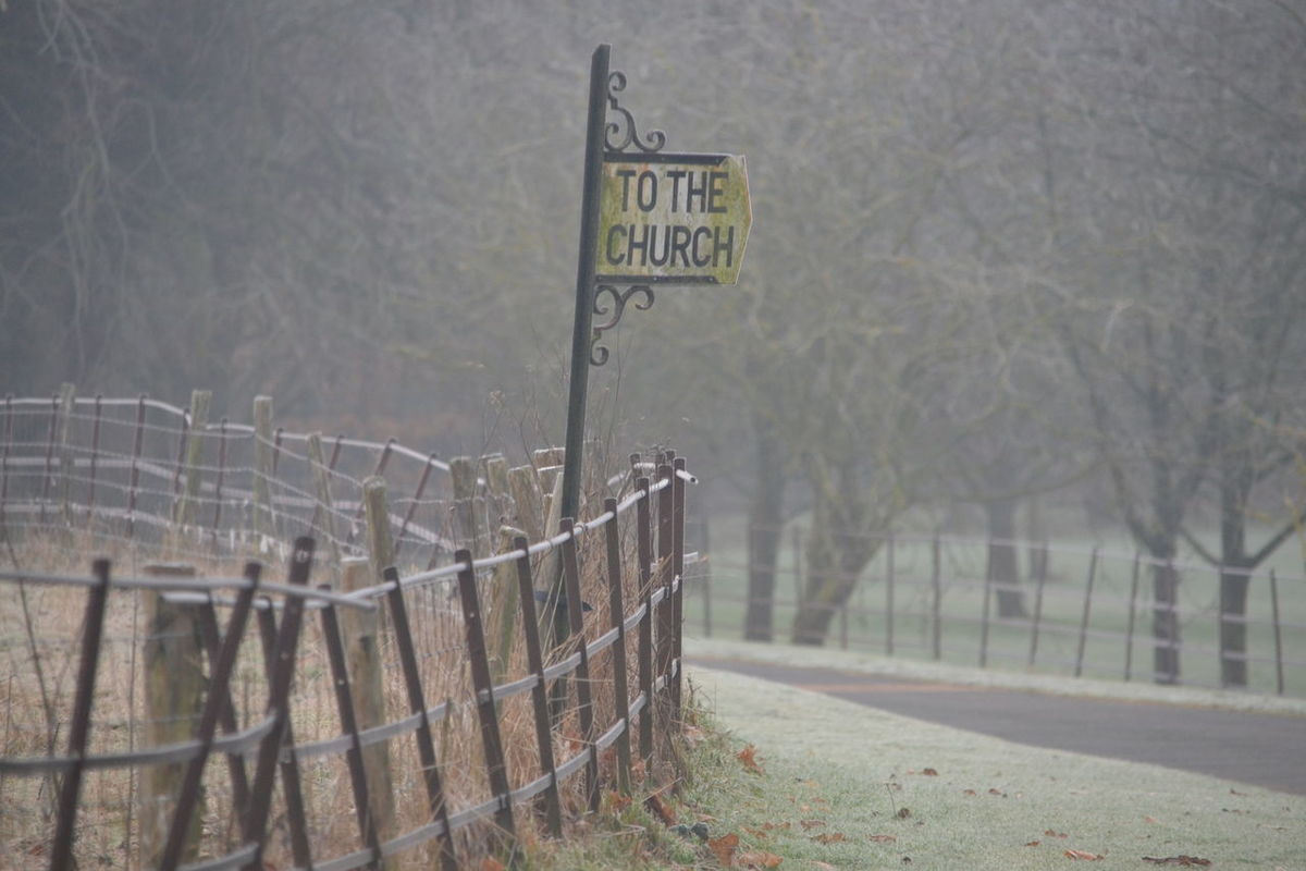 Church Country Countryside Day Denton England Fog Frost Frosty Mornings Grass Kent UK Misty Misty Morning Nature Outdoors Road Sign Tree Wootton