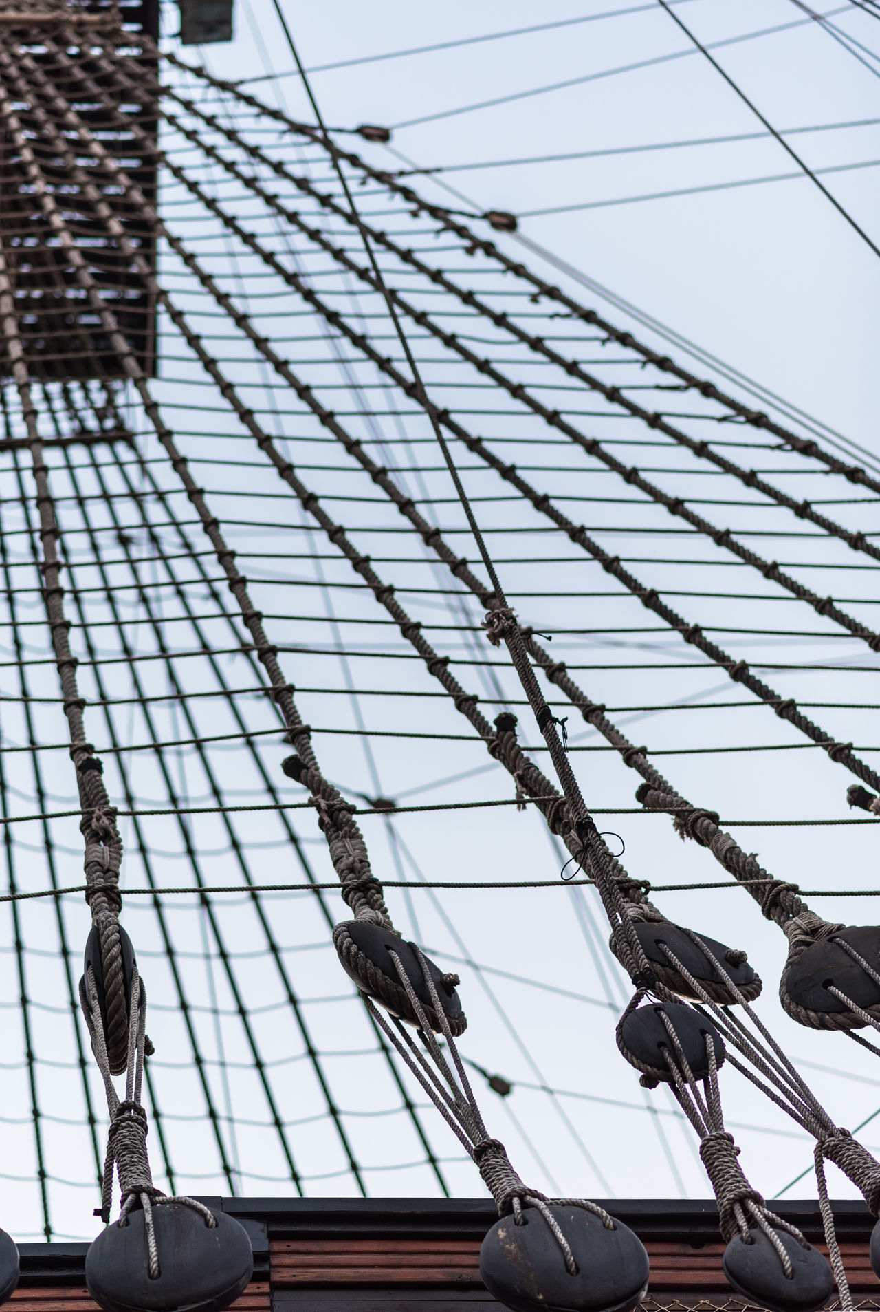 Ship shrouds Cable Closeup Day Detail Fragment Frigate Galleon Marine Moored Nautical Vessel Nobody Outdoors Part Of Pirate Ship Rigging Rope Ship Shrouds Sky Tackles Tighten Transportation Vintage