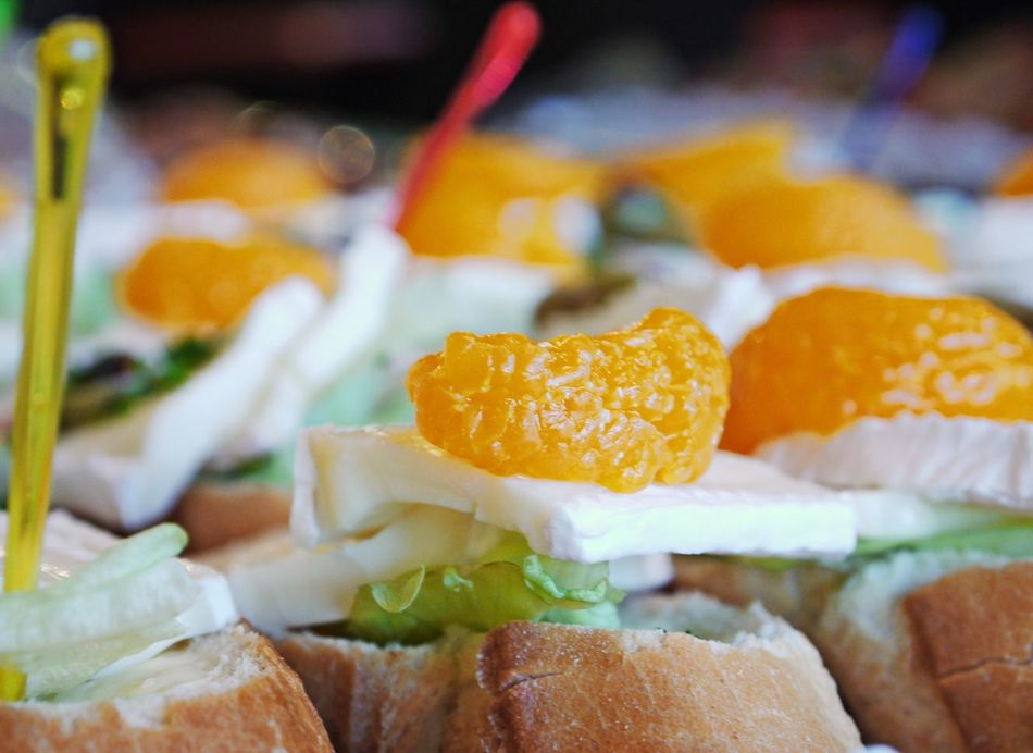 Baked Bread Brie Cheese Catering Service Close-up Day Focus On Foreground Food Food And Drink Freshness Healthy Eating Indoors  Mandarins No People Ready-to-eat Salad Snacks Tangerines