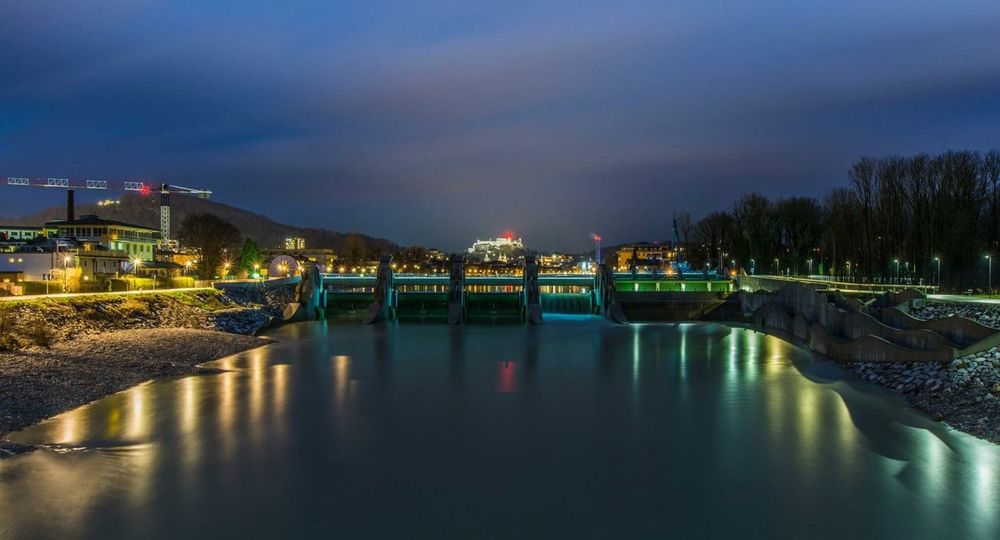 EyeEm Selects Architecture Built Structure Water Night Building Exterior Sky Reflection Illuminated Waterfront No People Outdoors Nature City Beauty In Nature salzburg
