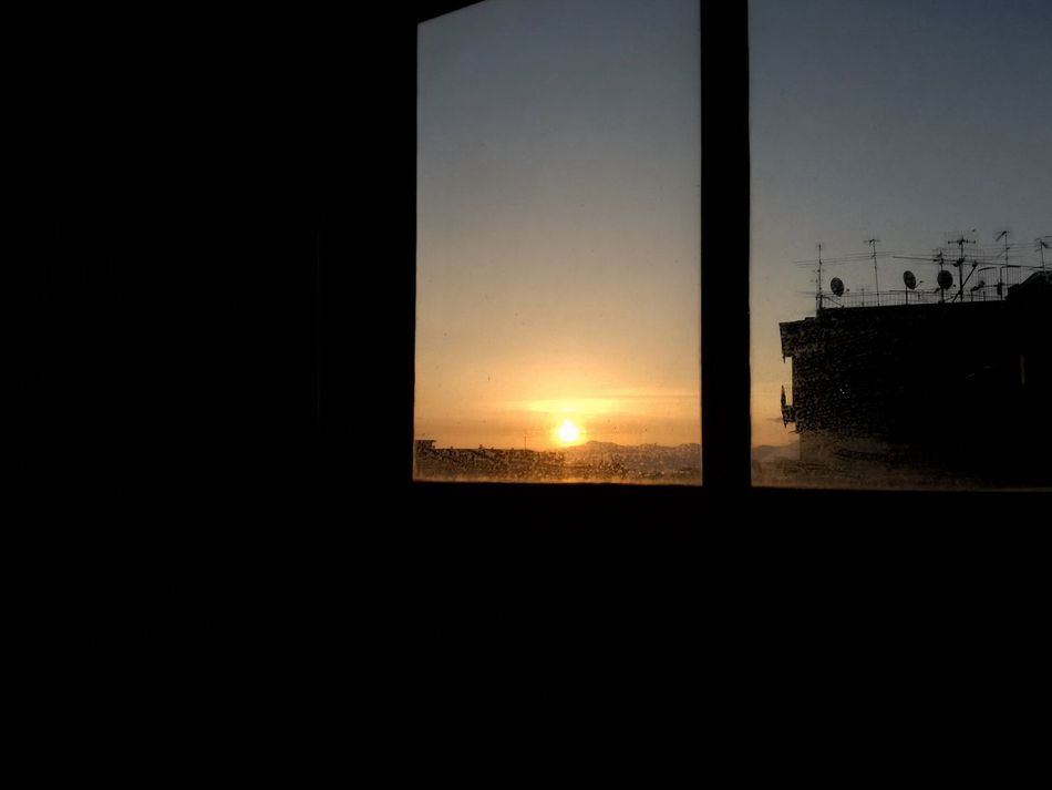 """""""One may not reach the dawn save by the path of the night."""" - Kahlil Gibran. Sunset Built Structure Sky Architecture Silhouette Nature Clear Sky No People Beauty In Nature Scenics Sun Close-up Day Indoors  Dawn Of A New Day Window Napoli Italy Naples Italy EyeEmNewHere EyeEmNewHere"""